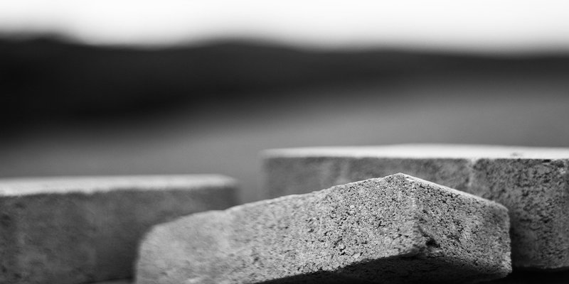 black and white image of bricks