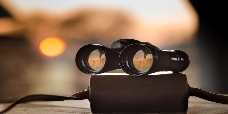 black binoculars on a case