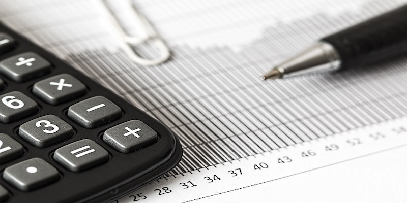calculator and financial data