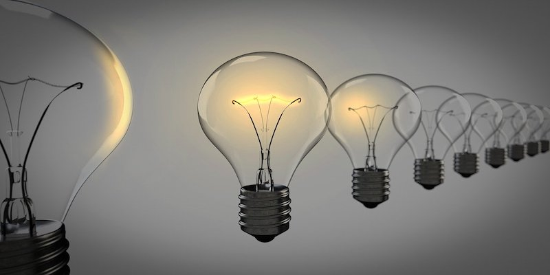 set of light bulbs to show ideas