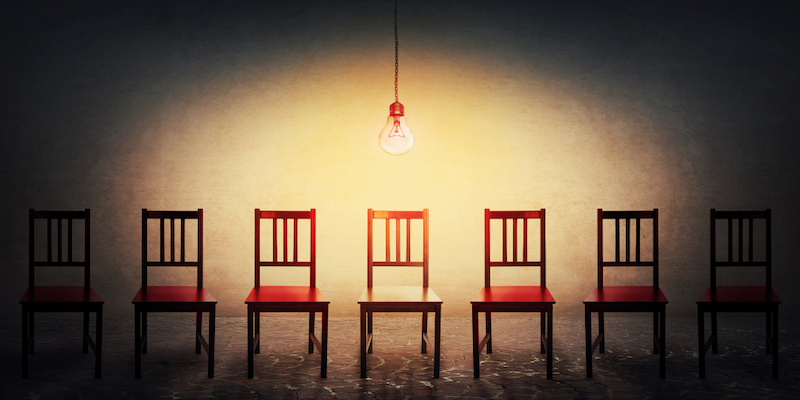 row of chairs to signify choice