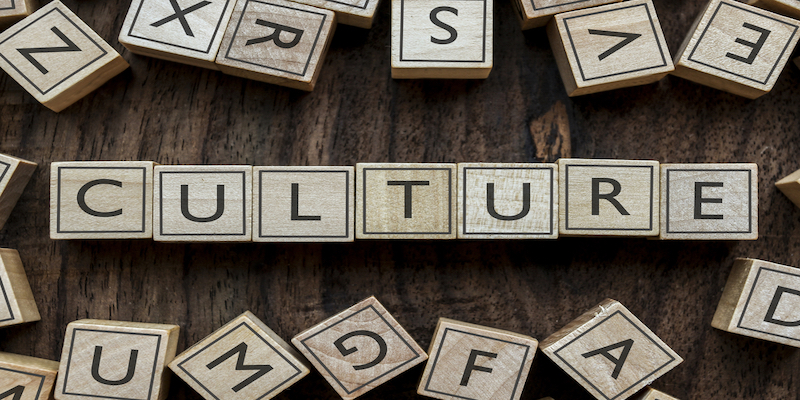 the word culture spelled out on building blocks
